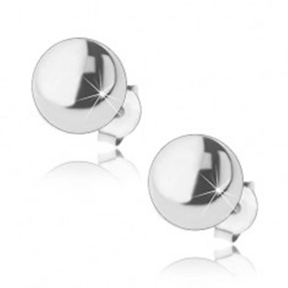 Šperky eshop Strieborné náušnice 925, zrkadlovolesklé polgule, puzetové zapínanie