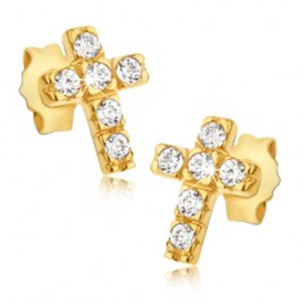 Šperky eshop Zlaté 14K náušnice - krížiky so šiestimi okrúhlymi zirkónmi