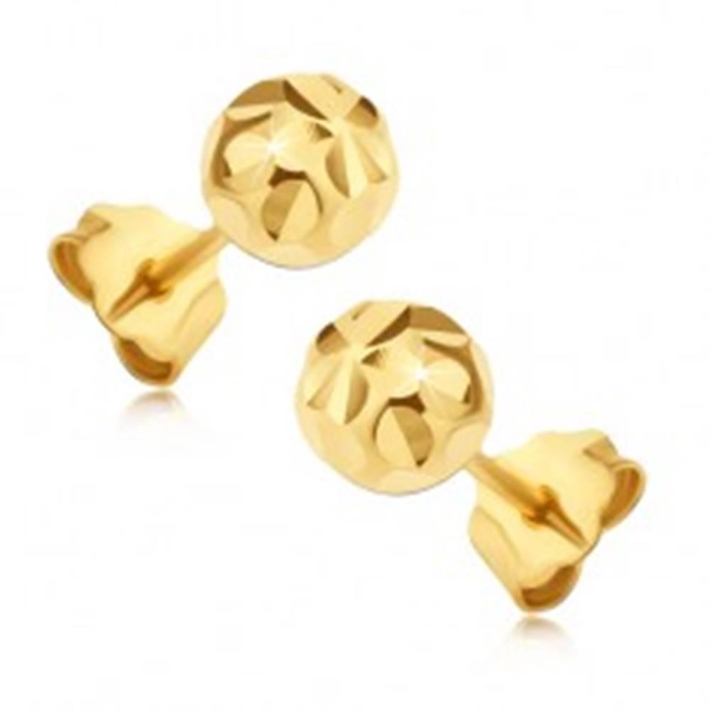 Šperky eshop Zlaté 14K puzetové náušnice - guľôčky s lúčovitým kvetom
