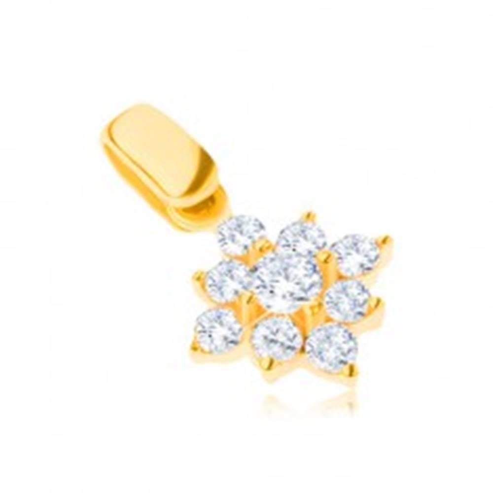 Šperky eshop Zlatý prívesok 14K - trblietavá zirkónová vločka