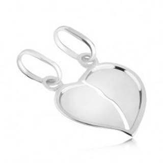 Dvojprívesok zo 14K bieleho zlata - prelomené lesklé srdce so zahnutým okrajom