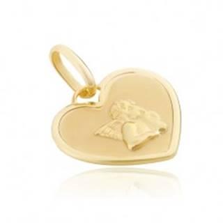 Prívesok zo zlata 14K - srdcová známka s lesklým anjelikom