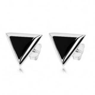 Puzetové náušnice, striebro 925, trojuholníkový čierny ónyx, strieborný lem
