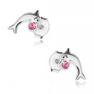 Strieborné 925 náušnice, lesklý skáčuci delfín s ružovým krištálikom Swarovski
