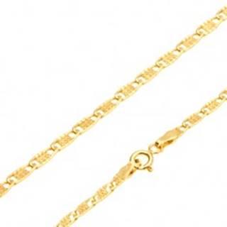 Zlatá retiazka 585 - lesklé ploché oválne očká s mriežkou, 450 mm