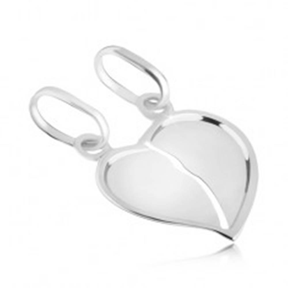 Šperky eshop Dvojprívesok zo 14K bieleho zlata - prelomené lesklé srdce so zahnutým okrajom
