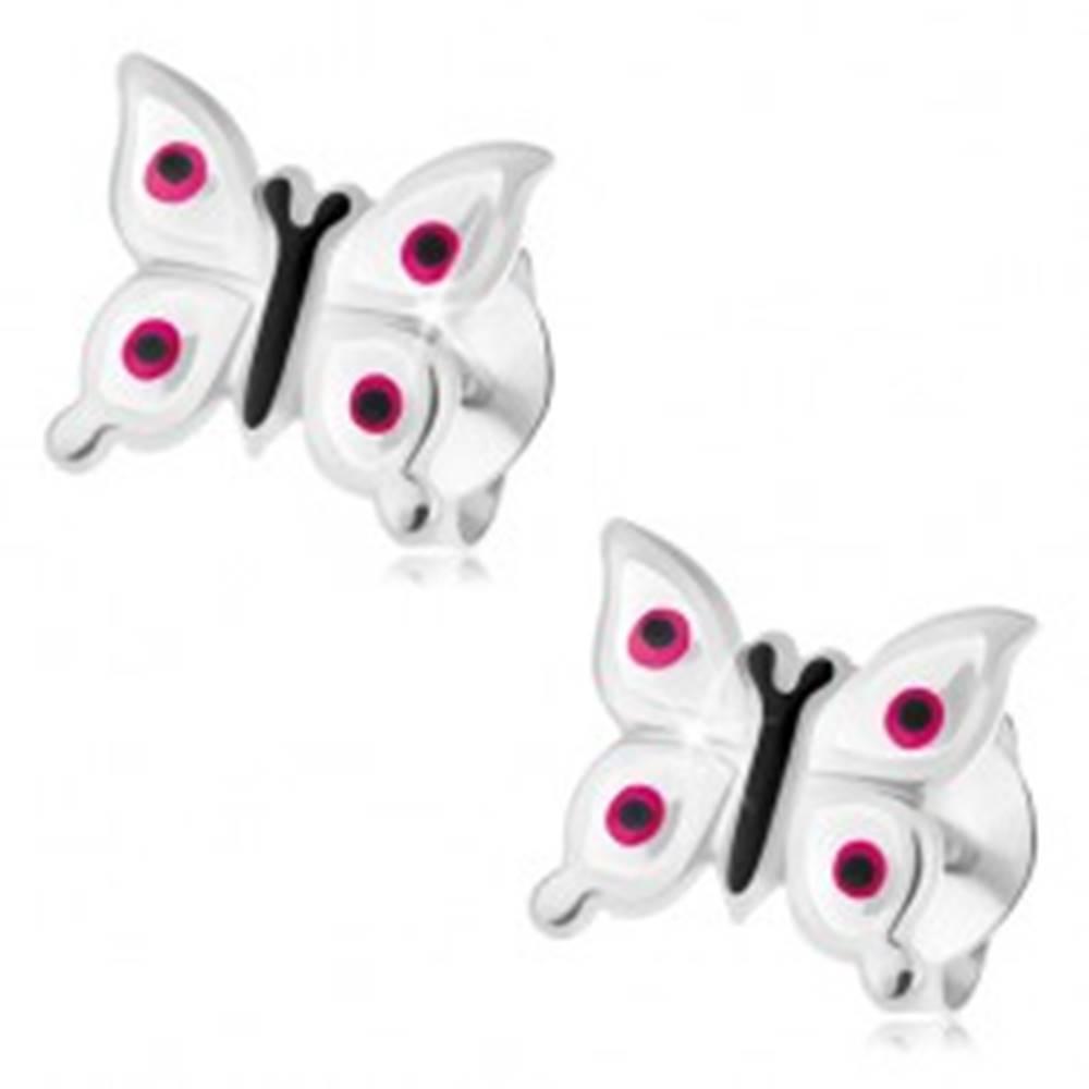 Šperky eshop Náušnice zo striebra 925, lesklé biele motýliky - ružové a čierne bodky