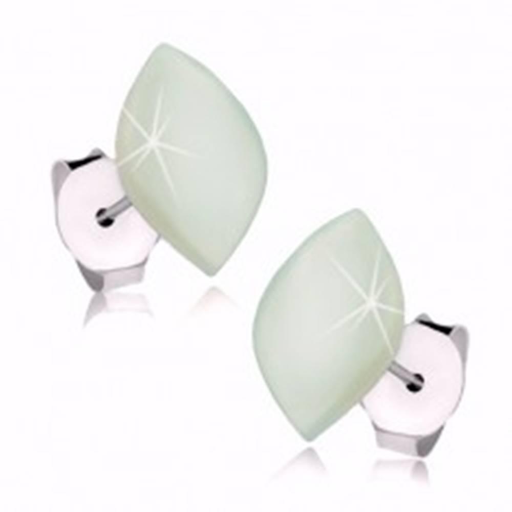 Šperky eshop Náušnice zo striebra 925, perleťové zrnko s jemným zelenkavým nádychom