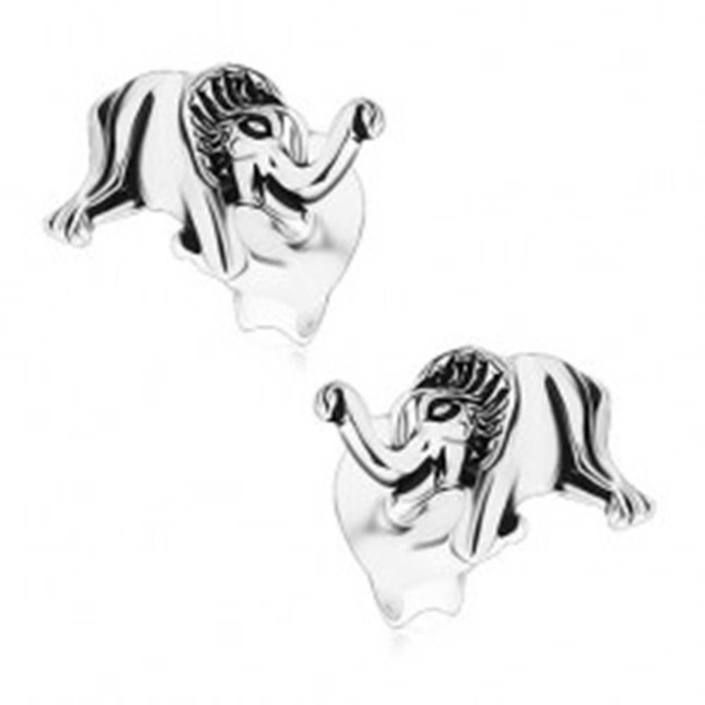 Šperky eshop Patinované puzetové náušnice, striebro 925, malý lesklý sloník