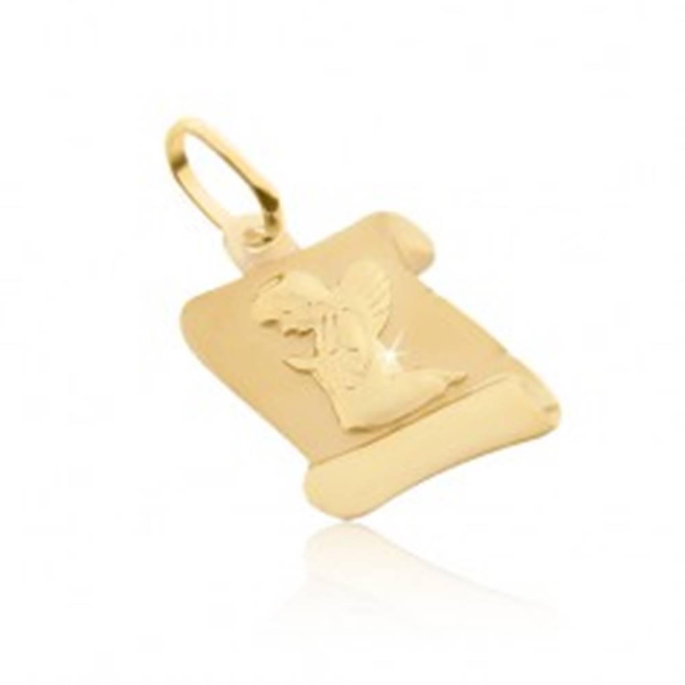 Šperky eshop Prívesok zo zlata 585 - matný pergamen s kľačiacim anjelom