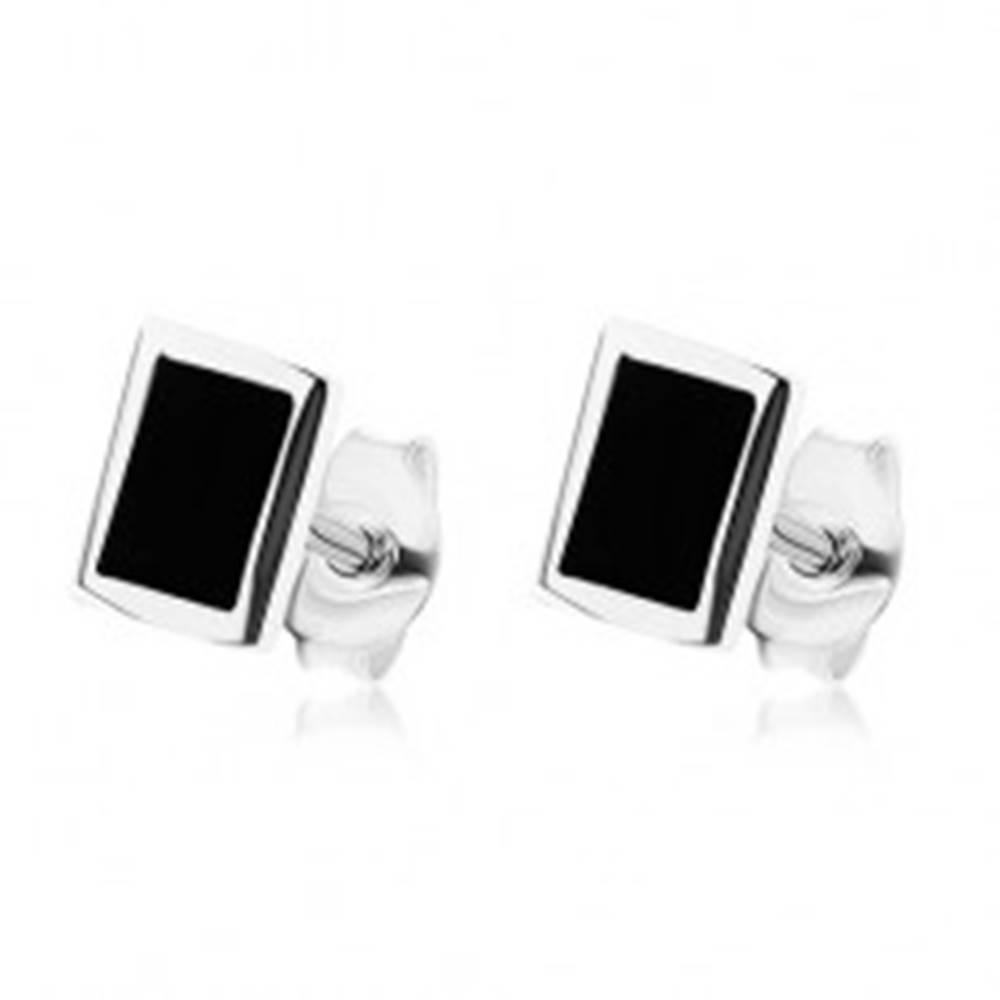 Šperky eshop Puzetové náušnice, striebro 925, obdĺžnikový ónyx čiernej farby, lesklý lem