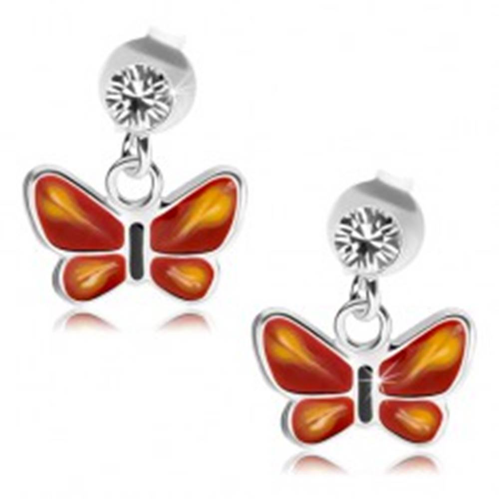 Šperky eshop Strieborné 925 náušnice, číry krištálik Swarovski, červeno-ružový motýlik
