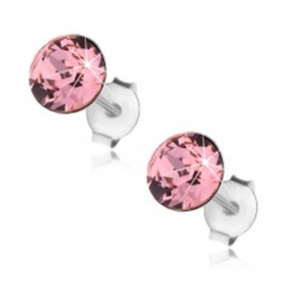 Šperky eshop Strieborné 925 náušnice, okrúhly Swarovského krištáľ ružovej farby, 6 mm
