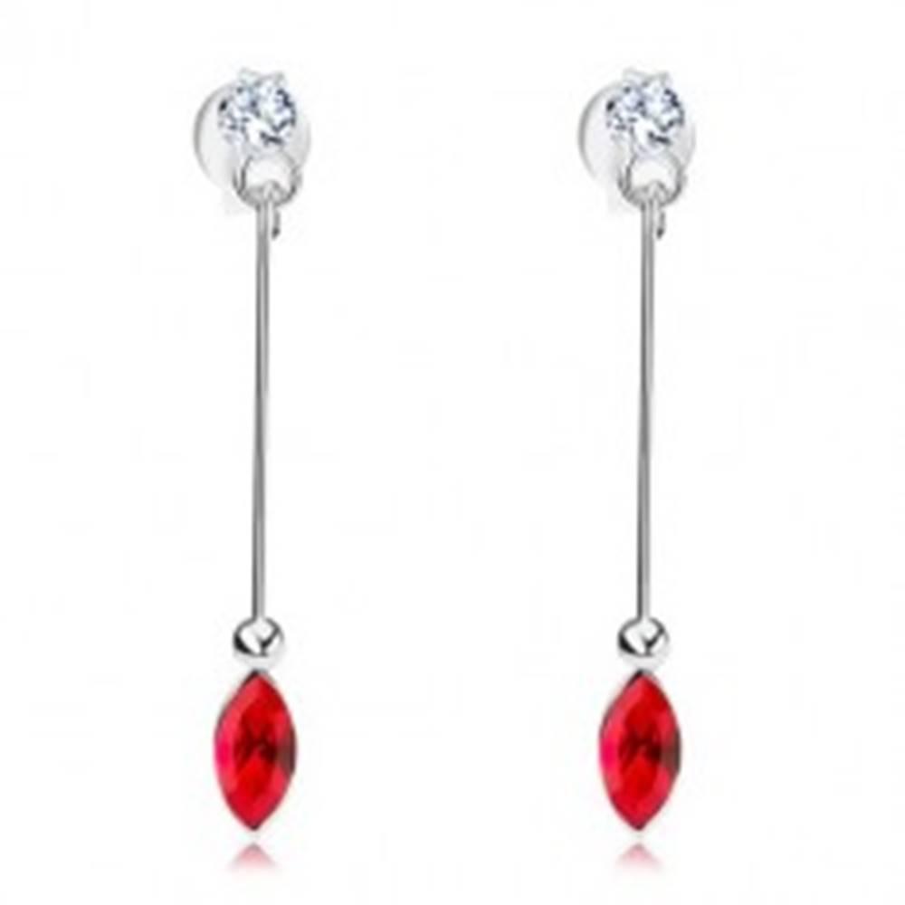 Šperky eshop Strieborné 925 náušnice, Swarovského krištále v čírom a červenom odtieni