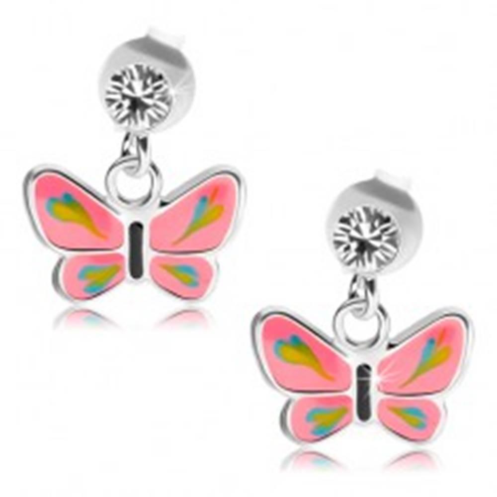 Šperky eshop Strieborné náušnice 925, číry Swarovského krištáľ, motýlik s ružovými krídlami