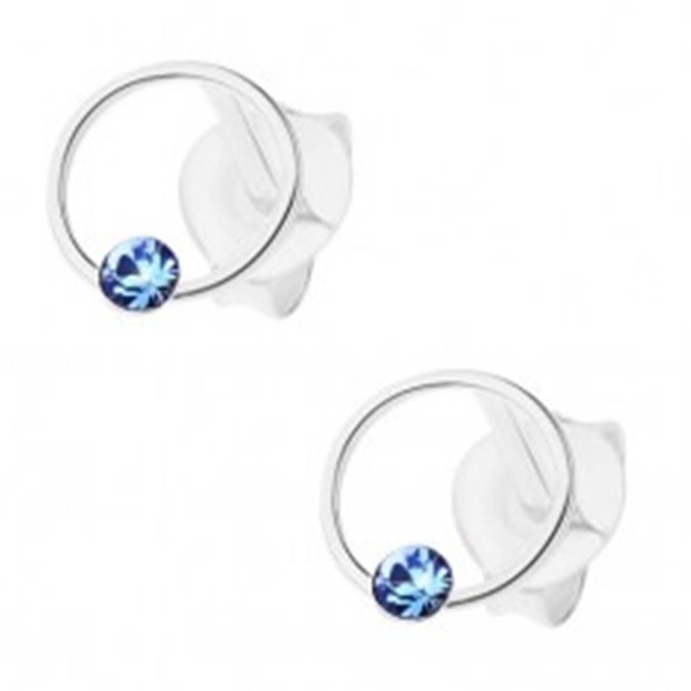 Šperky eshop Strieborné náušnice 925, krúžok s modrým krištálikom Swarovski