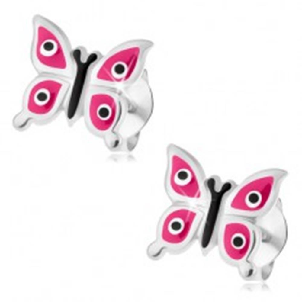 Šperky eshop Strieborné náušnice 925, lesklý motýľ s ružovými krídlami, čierno-biele bodky