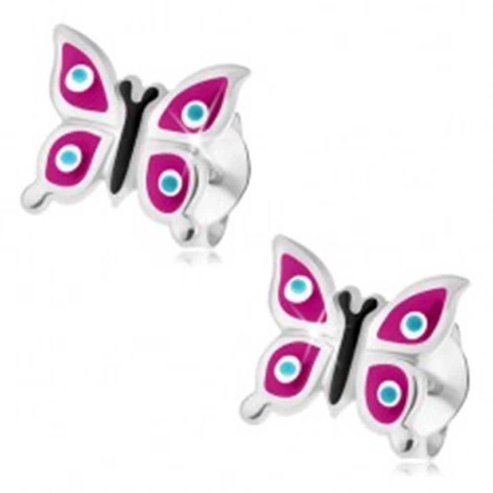 Šperky eshop Strieborné náušnice 925, motýlik - fialové krídla, modré bodky s bielym lemom