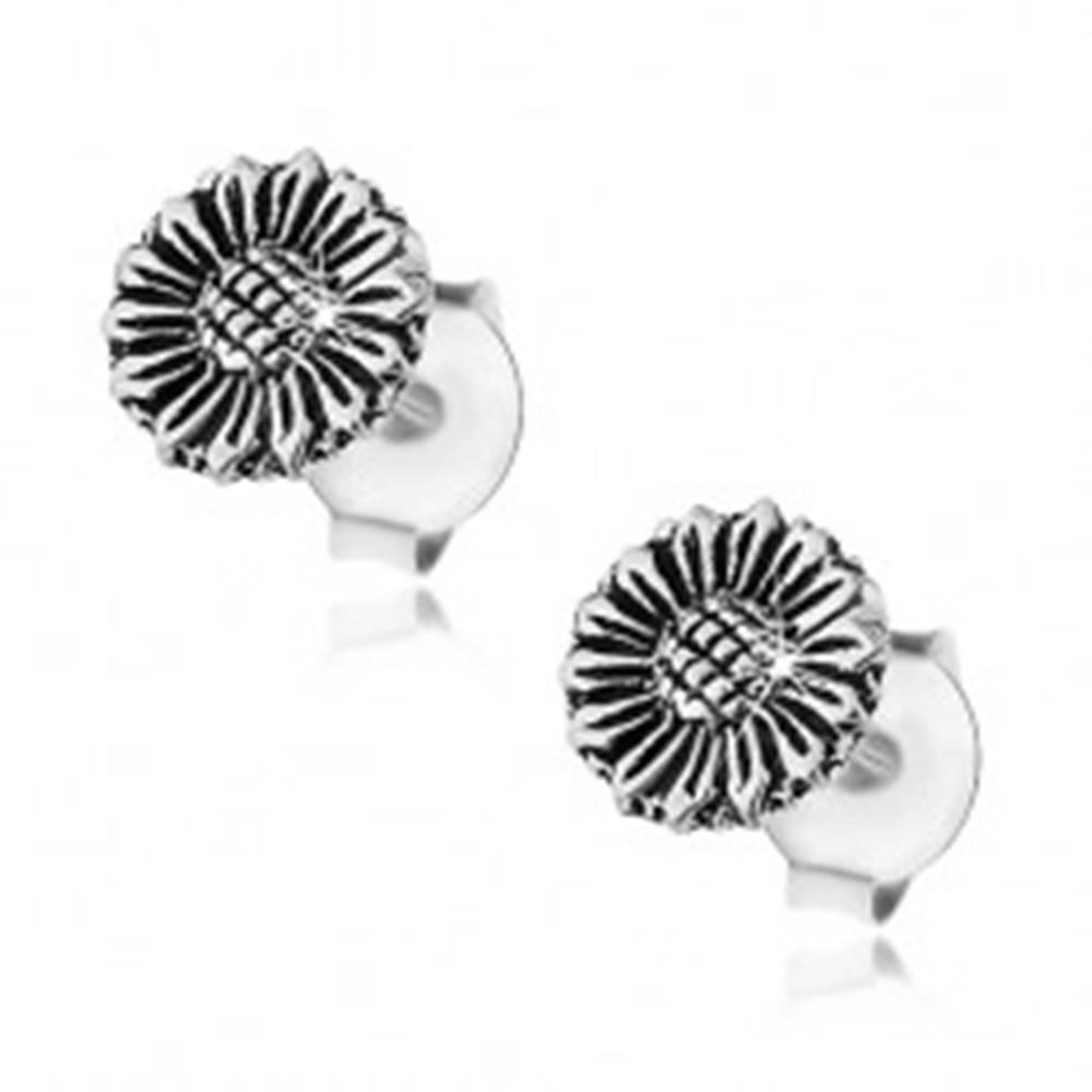 Šperky eshop Strieborné náušnice 925, patinovaný kvet slnečnice, puzetky