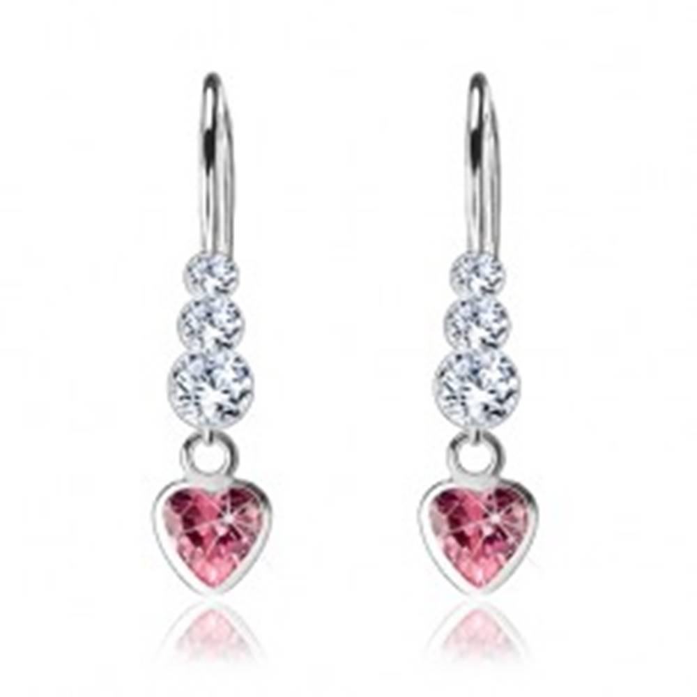 Šperky eshop Strieborné náušnice 925, ružové zirkónové srdce, okrúhle číre Swarovski krištále