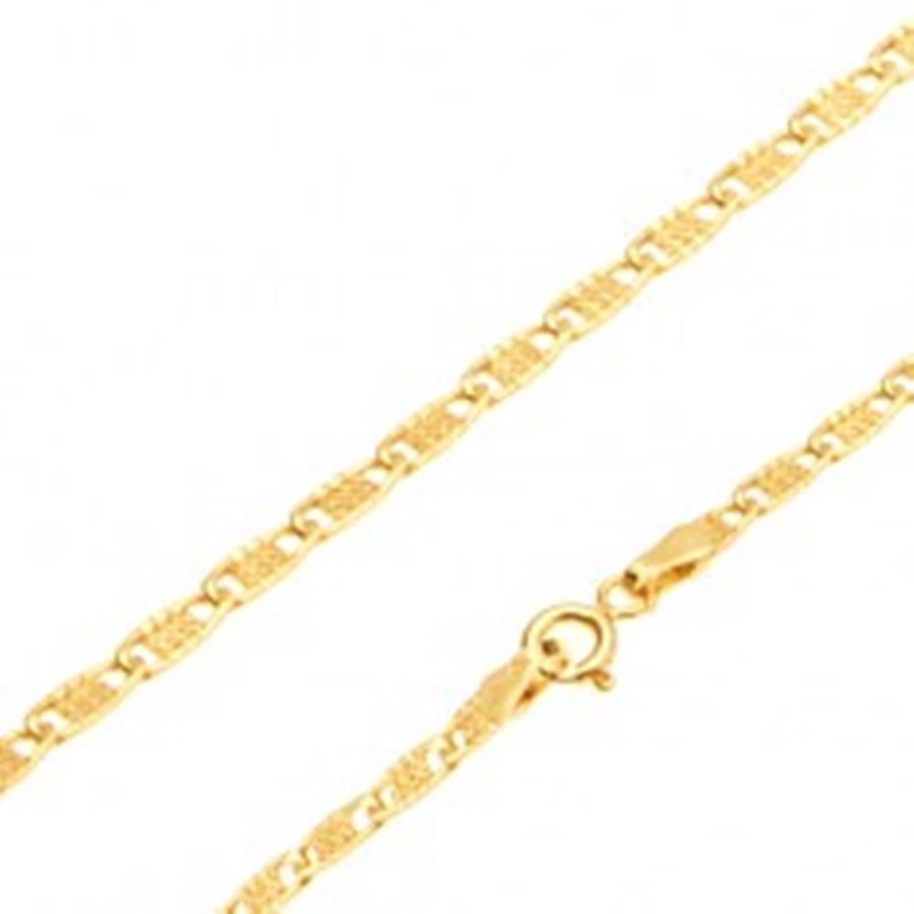 Šperky eshop Zlatá retiazka 585 - lesklé ploché oválne očká s mriežkou, 450 mm