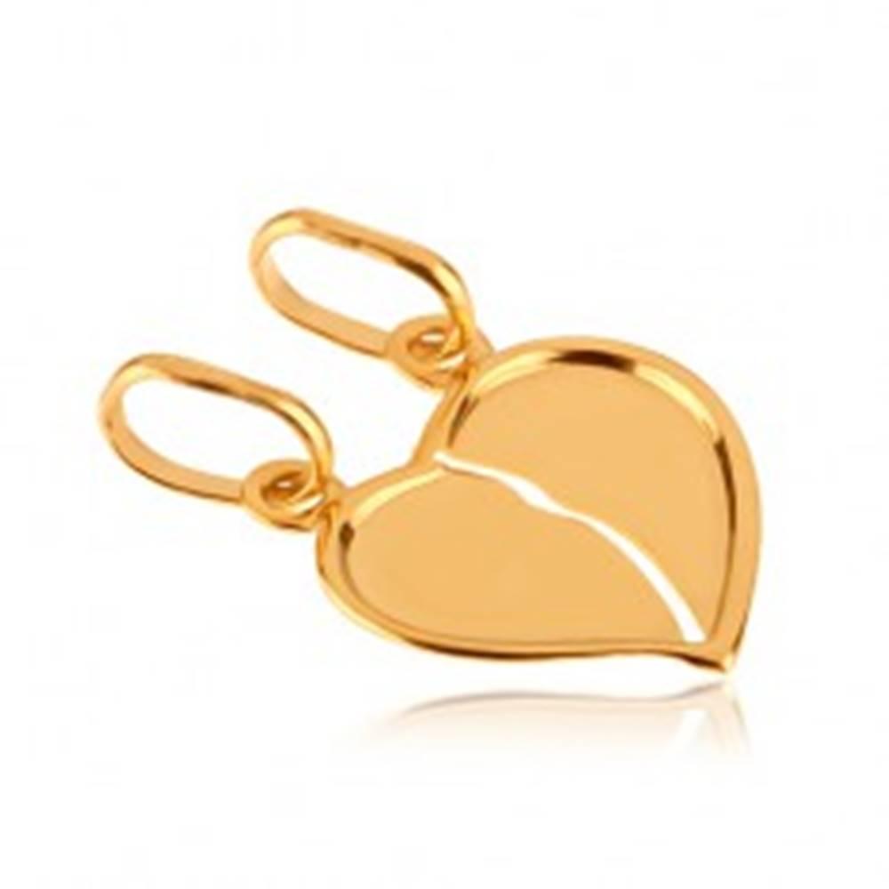 Šperky eshop Zlatý dvojprívesok 585 - prelomené lesklé srdce so zahnutým okrajom