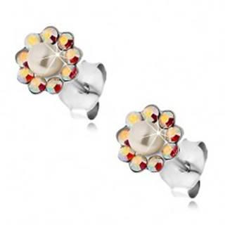Náušnice zo striebra 925, kvietok z dúhových krištálikov Preciosa a perličky