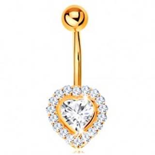 Piercing do bruška v žltom 14K zlate - číre zirkónové srdce lemované zirkónikmi