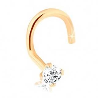 Piercing do nosa z 9K zlata, zahnutý, s ligotavým diamantom, 1,5 mm
