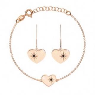 Strieborný set 925, ružovozlatý odtieň - náramok a náušnice, srdce s Polárkou a diamant