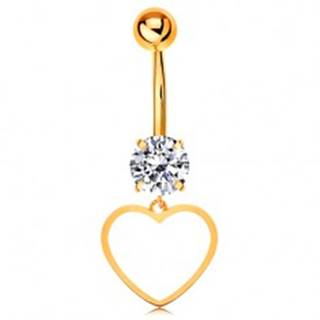 Zlatý 14K piercing do bruška - číry zirkón, tenký obrys súmerného srdiečka