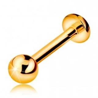 Zlatý 585 piercing do pery, brady a nad peru - lesklá hladká gulička, 8 mm
