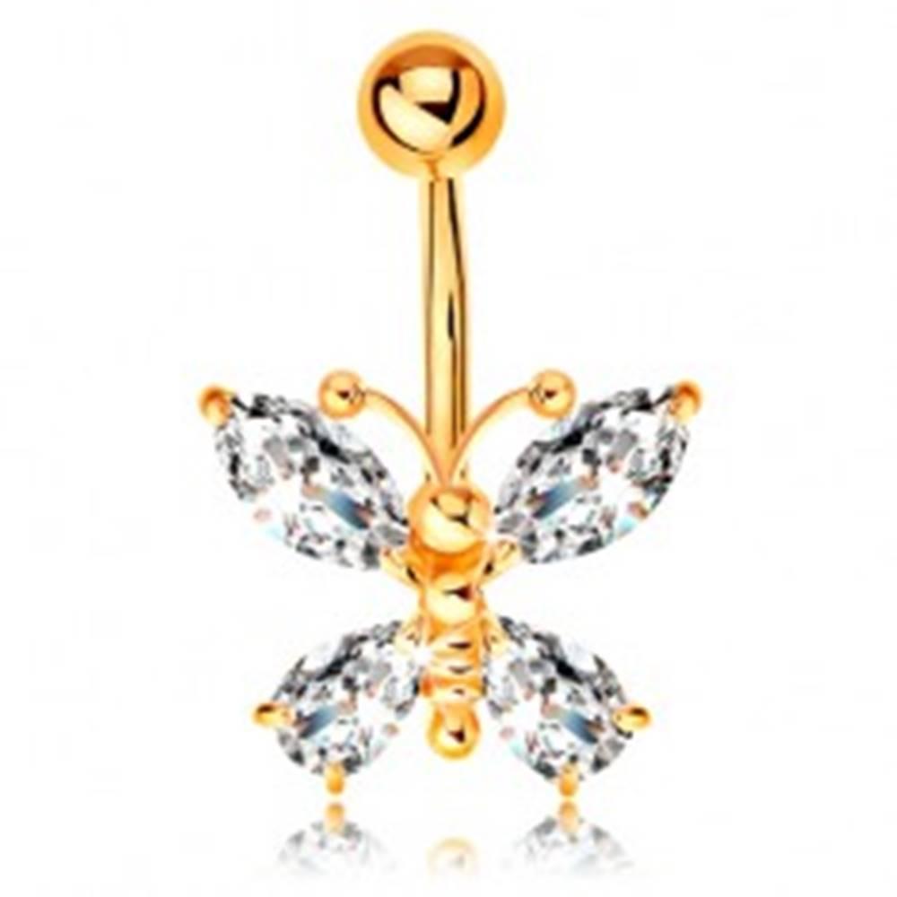 Šperky eshop Piercing do pupka zo žltého 14K zlata - motýľ so zirkónovými krídlami čírej farby