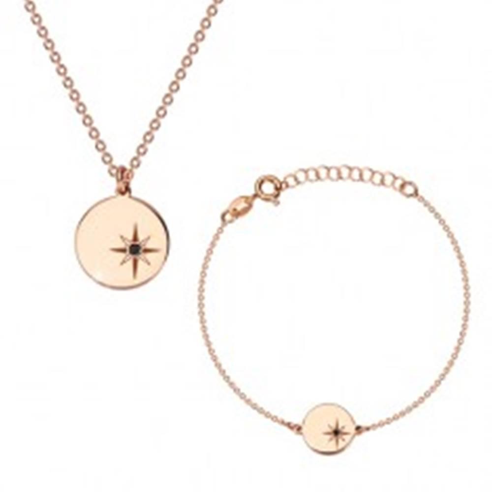 Šperky eshop Strieborná sada 925, ružovozlatý odtieň - náramok a náhrdelník, kruh, Polárka a diamant