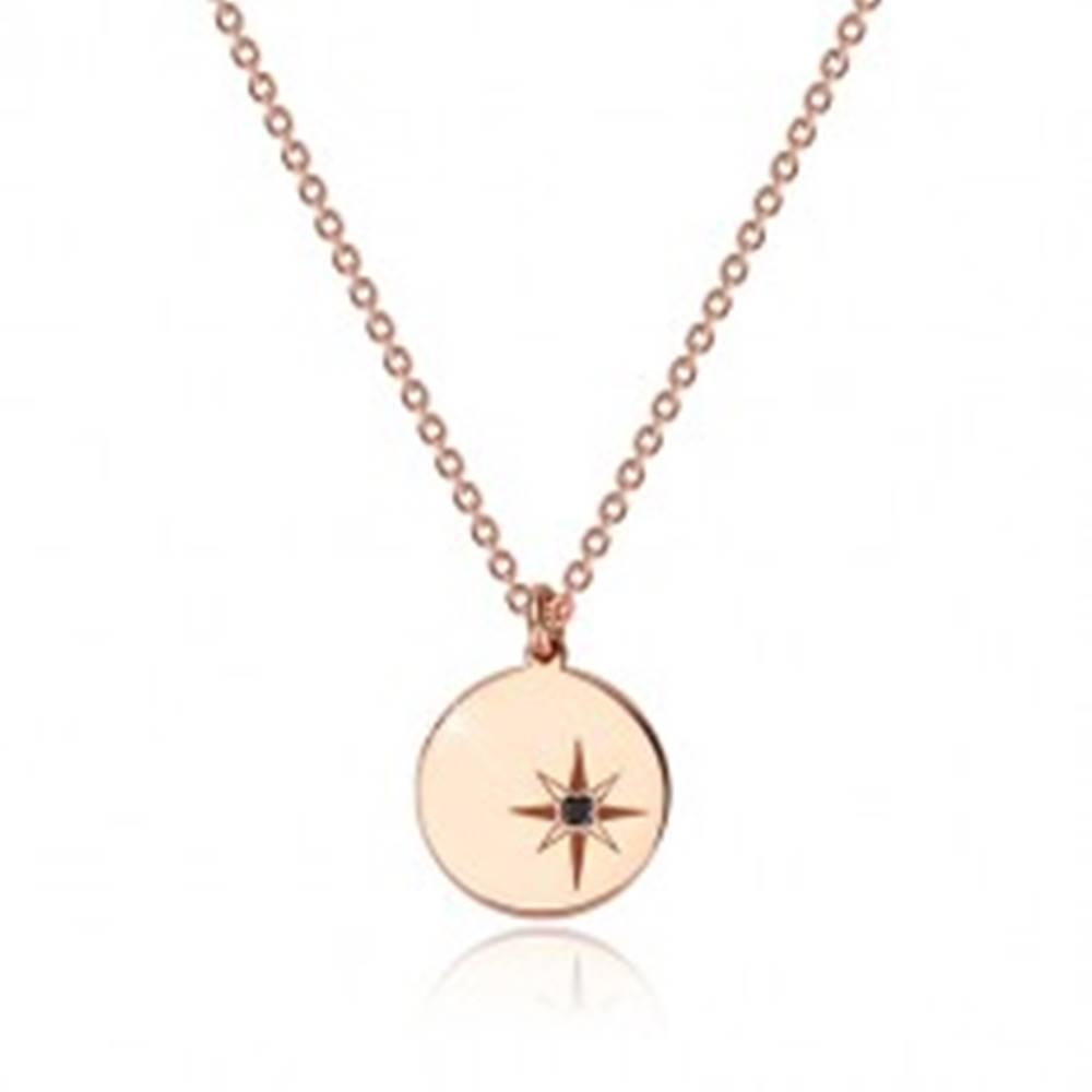 Šperky eshop Strieborný 925 náhrdelník ružovozlatej farby - lesklý kruh, severná hviezda, čierny diamant