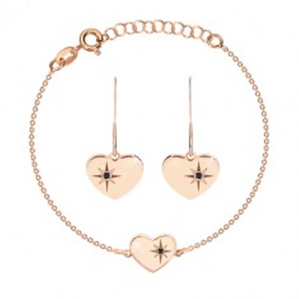 Šperky eshop Strieborný set 925, ružovozlatý odtieň - náramok a náušnice, srdce s Polárkou a diamant