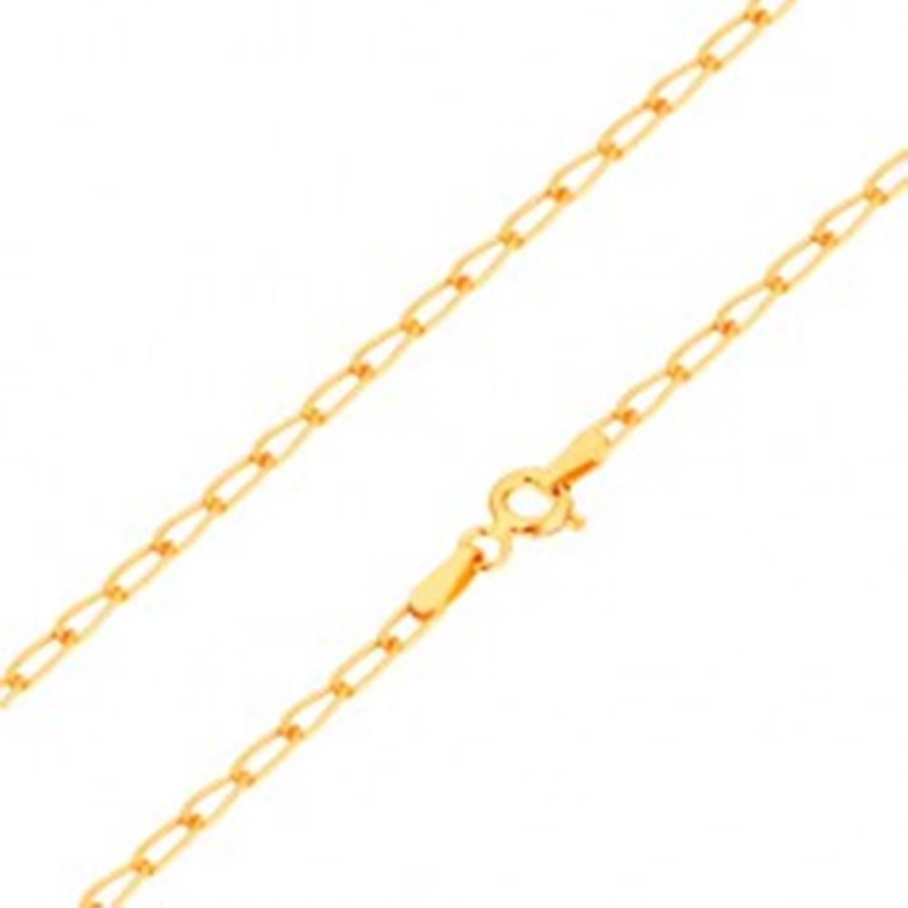 Šperky eshop Zlatá retiazka 585 - lesklé ploché oválne očká, 550 mm