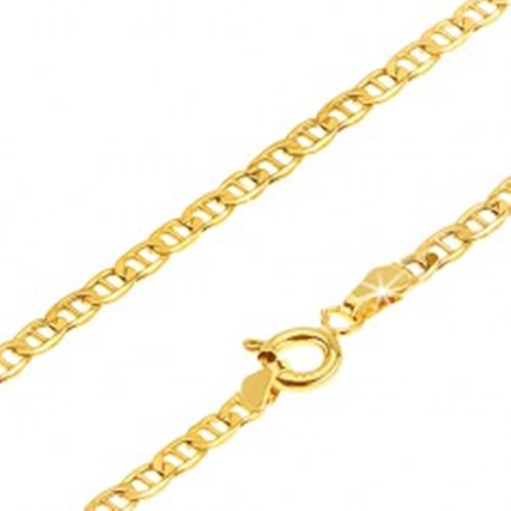 Šperky eshop Zlatá retiazka 585 - malé ploché lesklé očká predelené paličkou, 450 mm