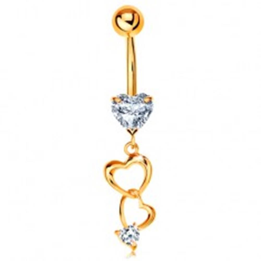 Šperky eshop Zlatý 585 piercing do bruška - kontúry sŕdc a číre zirkónové srdiečka