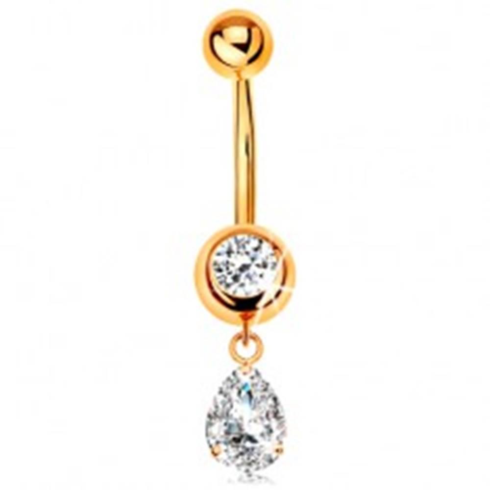 Šperky eshop Zlatý 585 piercing do pupku - okrúhly zirkón v objímke, visiaca zirkónová slza