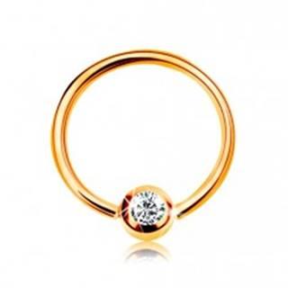 Zlatý 14K piercing - lesklý krúžok a gulička so vsadeným zirkónom čírej farby, 8 mm