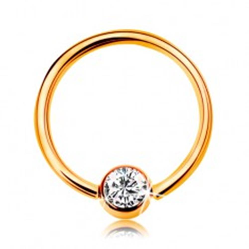 Šperky eshop Piercing v žltom zlate 585 - lesklý krúžok s guličkou a vsadeným čírym zirkónom, 10 mm