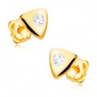 Náušnice v žltom 9K zlate - lesklý rovnostranný trojuholník, číry zirkón