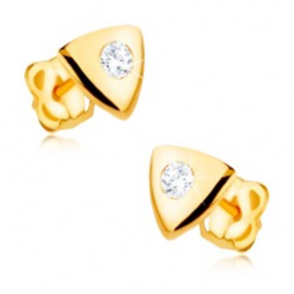Šperky eshop Náušnice v žltom 9K zlate - lesklý rovnostranný trojuholník, číry zirkón