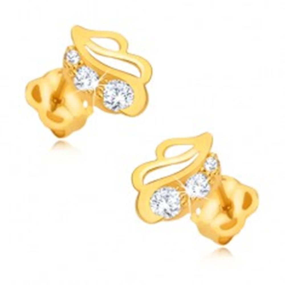 Šperky eshop Náušnice zo žltého 9K zlata - ligotavá kontúra listu s troma kamienkami