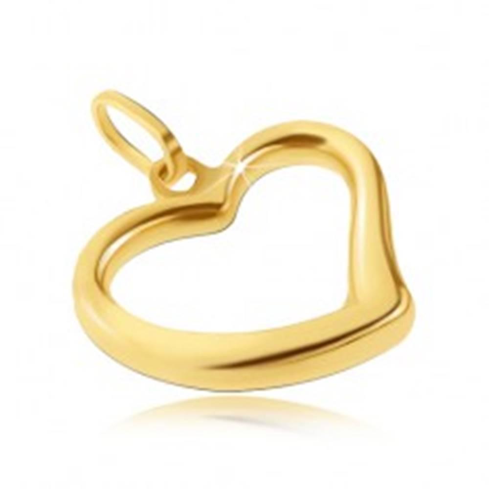 Šperky eshop Zlatý prívesok 585 - lesklé srdiečko s nepravidelnou líniou