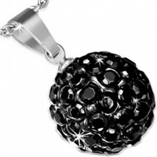 Oceľový prívesok so Shamballa guličkou, čierne ligotavé zirkóny, 12 mm