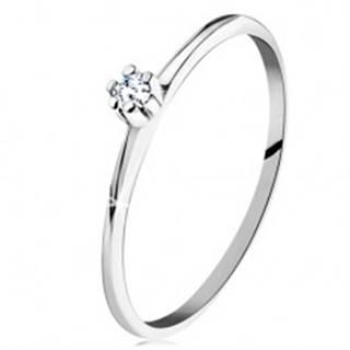 Prsteň v bielom 14K zlate - lesklé skosené ramená, okrúhly číry diamant - Veľkosť: 49 mm