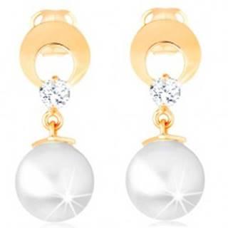 Zlaté náušnice 585 - kruh s výrezom a čírym diamantom, visiaca biela perla