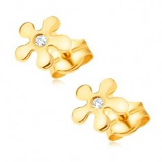 Zlaté náušnice 585 - ligotavý kvietok s čírym okrúhlym diamantom